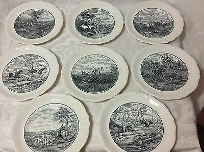 1931-57 8ct Copeland Spode Black/Whit Transferware Hunting Plates; 9 &1/4 in ea