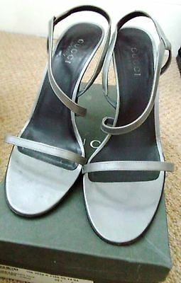 Vintage Gucci high heel strappy silver grey leather sandles,