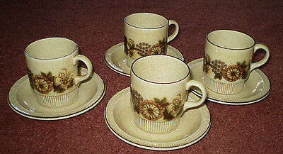 Retro Set Of 4 As New Poole Pottery Cups & Saucers ~ Thistlewood ~