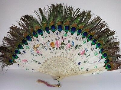 Edwardian Hand Painted Butterflies Swan & Peacock Feather Bovine Bone Frame Fan