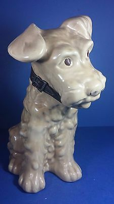 Vintage Large Sylvac Style Fireside Terrier Dog Figurine With Leather Collar