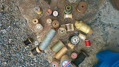 Vintage Sewing Thread mostly wood spools