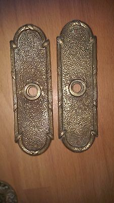 Pair Antique Solid Brass Victorian Door Handle  Plate 1880s, 5th Ave Manhattan