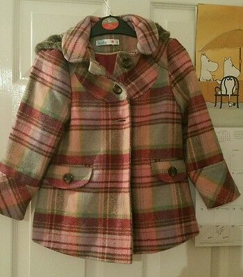 M&Co. Kids pink burgundy check wool blend duffle coat with fur trim 4-5 years