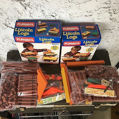 2 Playskool Original Real Wood Lincoln Logs 1989  380 Pieces 11 Signs Complete
