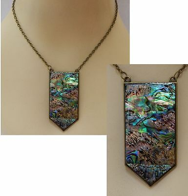 Gold Abalone Shell Necklace Jewelry Handmade NEW Adjustable Fashion