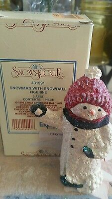 Enesco Snowsnickle Snowman with snowballs figurine complete with box.
