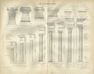 1878 SÄULENORDNUNGEN Original Alter Druck Antique Print Lithographie Architektur