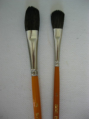 Set Of 2 Artist Water Color Mop Brush Oval Shape  Fine Soft Hair Mixture #1 & #3