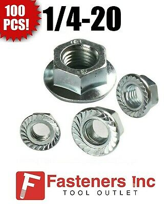 """(Qty. 100) 1/4-20 Hex Flange Nuts Serrated Zinc Plated """"Whiz Nuts"""""""