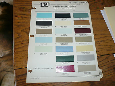 1967 Lincoln - Continental R-M Color Chip Paint Sample