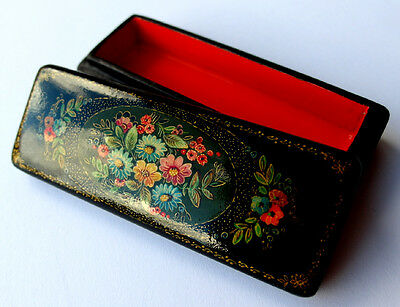 Jewellery Lacquer box, Lacquer Box Papier-mâché-can, Hand painted, Russia F432