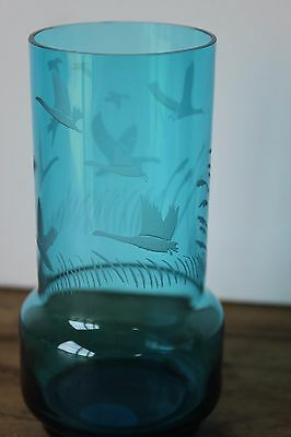 Mid Century Etched Flying Birds, Blue glass vase.