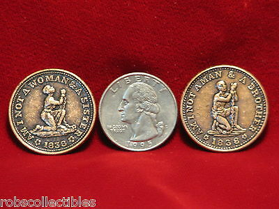 1838 USA Anti-slavery Hard Time tokens - (Modern Copies) Comes as 1 set of 2