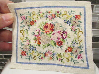 Dollhouse Miniatures ~ Beautiful Needlepoint Rug or Tapestry w/ Roses & Flowers
