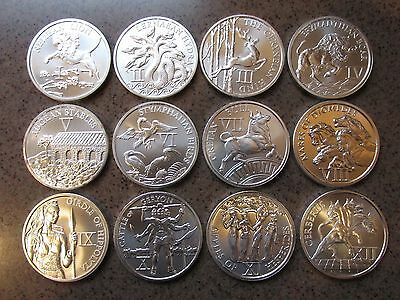 "Complete Set ""12 Labors of Hercules"" 1 Troy Ounce .999 Silver Rounds"