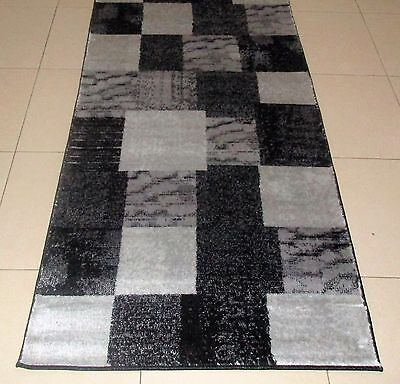 New Black/grey Modern Heatset Hallway Runner Floor Rug 80X150Cm