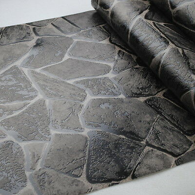 3D Rock Nature Rustic Vinyl Embossed Textured Effect Stone Wallpaper Roll Black