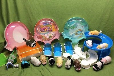 Big Lot of 12 zhu zhu pet pets tunnels rooms ramp outfits hamster rabbit raccoon