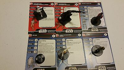 Star Wars Miniatures Rare Lot Solo Skywalker R2D2 C3PO Chewbacca Wedge