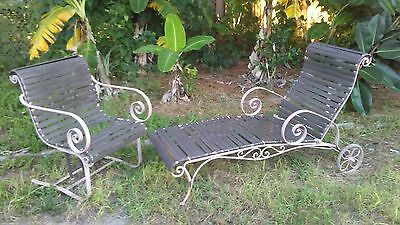 Vintage Woodard Wrought Iron Patio Chaise Lounger & Chair No. 1E 147932 !!!