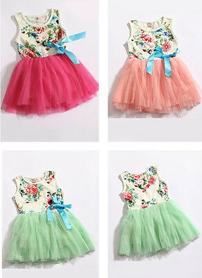 Kids Baby Girl Infant Flower Bowknot Party Dress Tutu Sleeveless Summer Clothes
