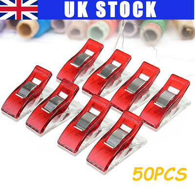 50Pcs Assorted Clips Clamp for Fabric Quilting Craft Sewing Knitting Crochet Red