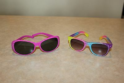 Toddler Girl Bright Pink & Rainbow Sunglasses Set