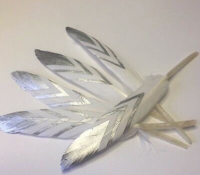 5 x 10-15cm Hand Printed Silver Goose Feathers DIY Craft Millinery Dream Catcher
