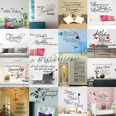 Quote Words Art Removable Vinyl Mural Wall Stickers Home Room Decal Decor DIY