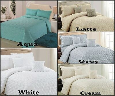 Quilted Coverlet Bedspread Set King Queen Double Single Aqua White Latte Beige