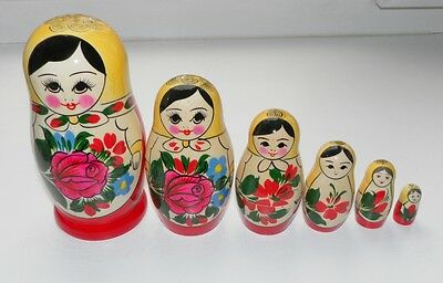 RUSSIAN FACTORY SEMENOVSKAYA MADE NESTING DOLLS MATRESHKA 6 pcs МАТРЕШКА 14 cm