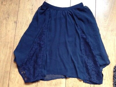 Abercrombie & Fitch Kids Navy lace panel asymmetrical skirt Large (Age 14)