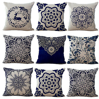 """Chinese Blue & White Painting Pillow Case Car Sofa Home Decor Cushion Cover 18"""""""