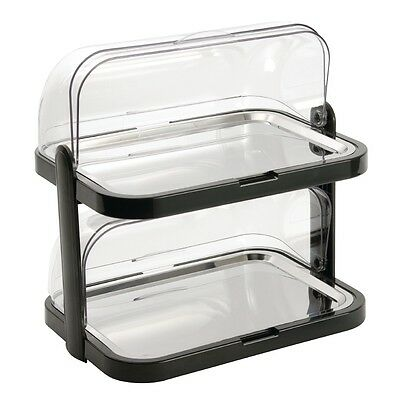 APS Double Decker Roll Top Cool Plate Stainless Steel Serving Platter Tray
