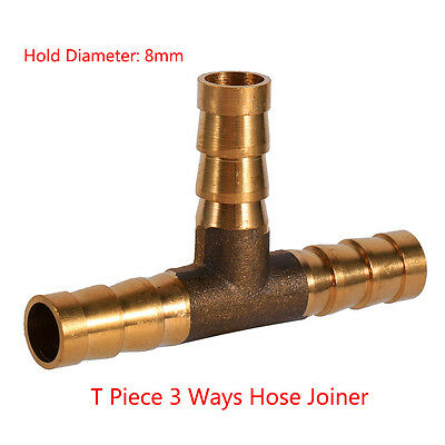 Golden 8mm Brass T Piece 3 Way Fuel Hose Joiner Connector For Air Fuel Oil Water