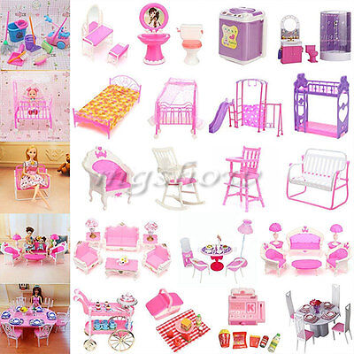 Dollhouse Miniature Furniture Accessories For Barbie Bathroom Living Room Toys