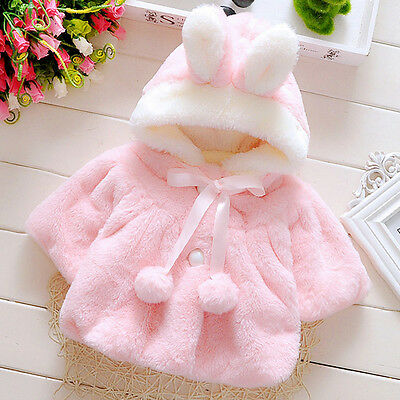 Infant Newborn Girl Warm Winter Outerwear Hooded Coat Jacket Cloak Kids Clothes