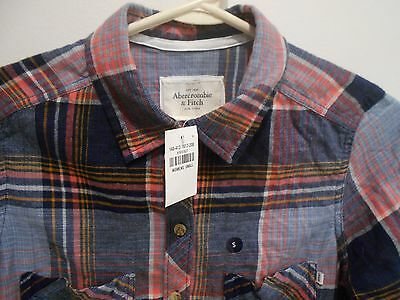 NEW Abercrombie & Fitch  Women's PINK Flannel Plaid Shirt S Small  Light Weigh