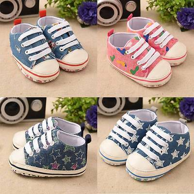 Newborn Baby Cute Sneakers Crib Shoes Boys Girls Infant Toddler Soft Sole 0-18M