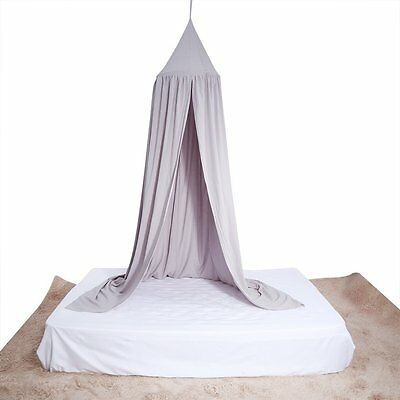 Decorative Mosquito Cotton Canopy Net Bed Netting For Single Double Size Grey