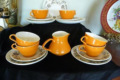 """Poole England Retro """" Desert Song """" 6 X Trios  Cup Saucer & Plate  & Jug 19 Pce"""
