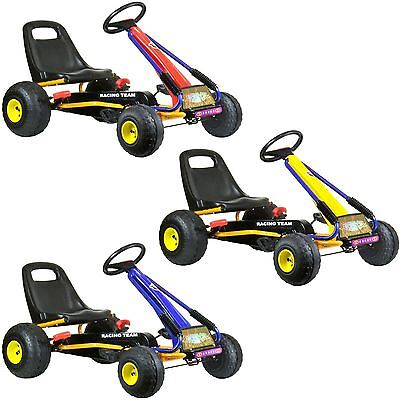 Childrens Kids Pedal Go Kart Cart With Oversize Wheels And Hand Brake New