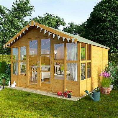 NEW Wooden 10x10 Garden Summer House Sunroom Outdoor Log Shed Cabin Patio Large