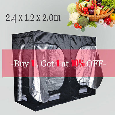 2.4m Indoor Grow Tent Mylar Hydroponic Bud Dark Green Room 2.4x1.2x2.0m