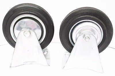 """5"""" (125mm) Rubber Fixed Castor Wheels Trolley Furniture Caster (2 Pack) RM011"""