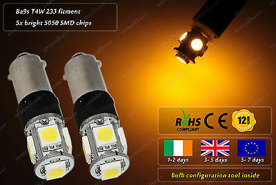 LED Ba9s T4W 233 Amber Yellow Strobe Police Flash Bulbs Park Side Lights 24V
