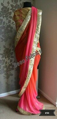 Designer Saree Indian Pakistani Wedding, Party wear. Sari- Anarkali Pink & Red
