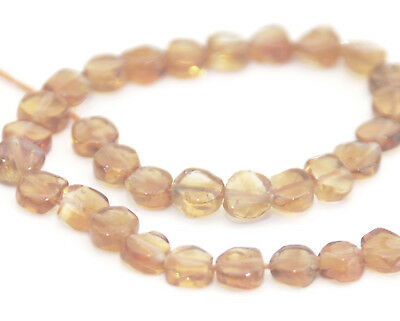Half Strand Of Coin / Flat Round Citrine Beads, 6.5 Mm