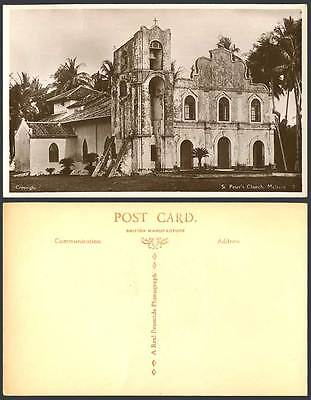 Malacca St Peter's Church Old Real Photo Postcard Palm Trees Straits Settlements